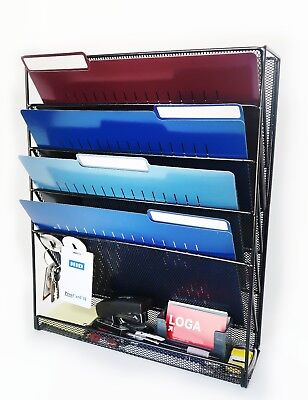 Mesh Wall Mounted File Holder Organizer - 5 Compartments - Hardware Included