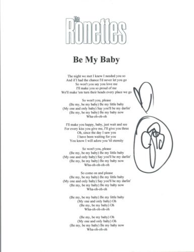 Jeff Barry Signed Autograph The Ronettes BE MY BABY Lyric Sheet Songwriter COA