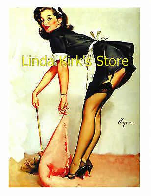 Pin Up Girl PRINT Brunette Wearing Black Stockings & French Maid Outfit - Pin Up Girl Outfits