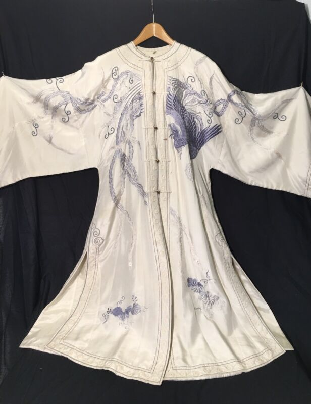 Fine Antique Chinese Silk Embroidered Court Robe W/ Phoenix & Flowers Textile