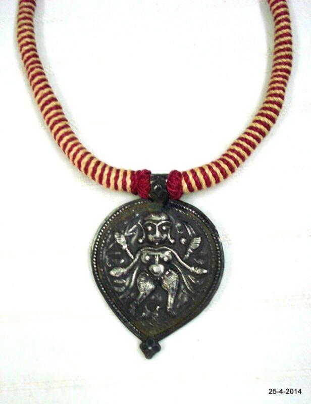 vintage antique tribal old silver necklace god shiva amulet pendant hindu