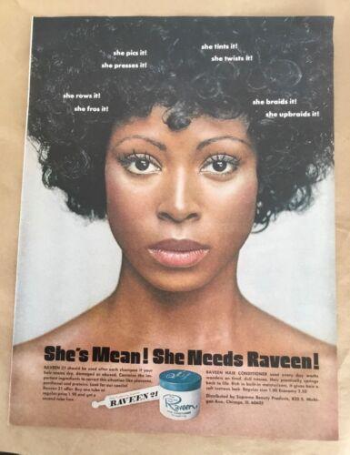 Raveen 21 hair care ad 1974 orig vintage print 1970s retro photo art fashion