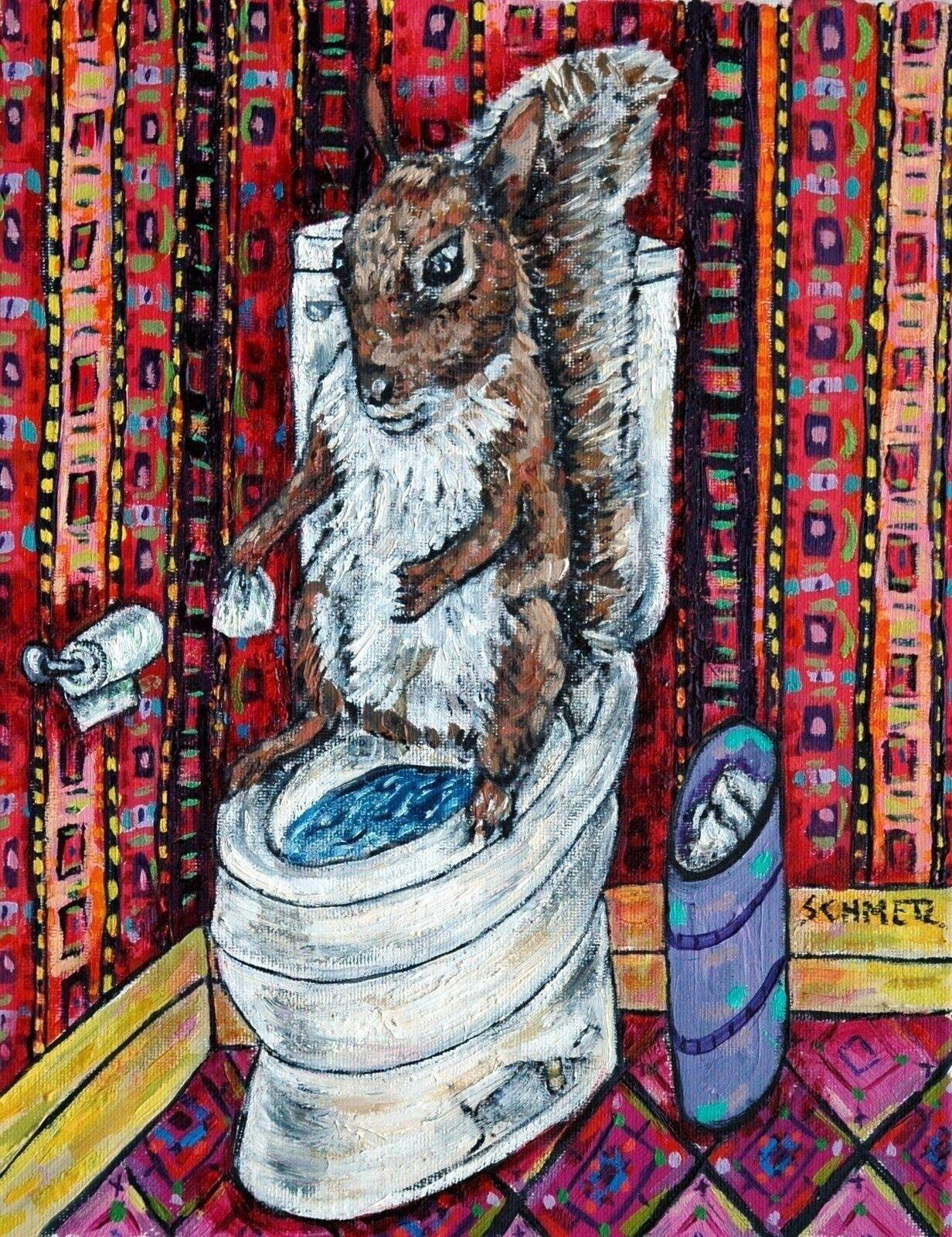 11x14 animal decor print gift squirrel wine wall decor colorful animal art