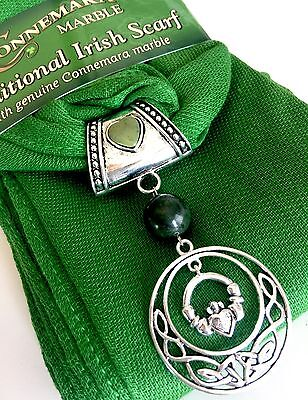 Claddagh Charm Scarf made with Genuine Connemara Marble, Direct from Ireland!