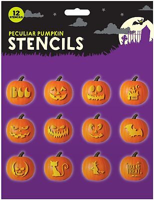 12pc Halloween Pumpkin Carving Stencil Set Party Decoration Ghost Witch Cat Bat