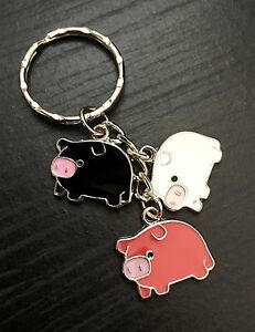 Super Cute Enamel Pig Pendent Keyring/Bag Charm, Pink,white,black, Great Gift