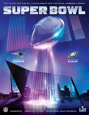 2018 SUPER BOWL 52 OFFICIAL PROGRAMME NEW ENGLAND PATRIOTS v PHILADELPHIA EAGLES