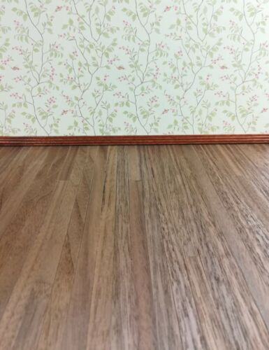"Dollhouse Miniature Real Wood Mixed Width Flooring 1:12 Scale 17"" x 11"" Dark"