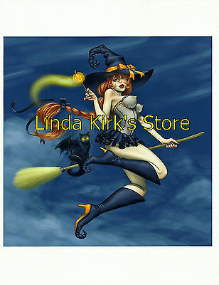 Pin Up Girl PRINT Redhead Halloween Sexy Sheer Witch Costume Broom Boots Cat - Red Head Halloween Costume