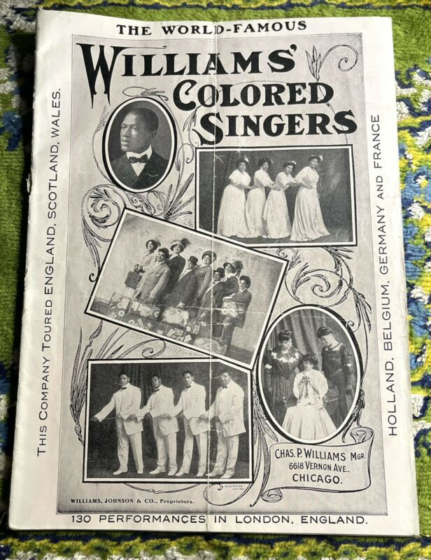 1904 WORLD FAMOUS WILLIAMS JUBILEE SINGER African American Choir Song Book