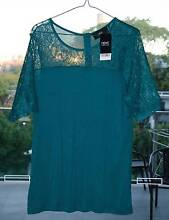 'Next' Green Lace Jersey Top - Brand New (UK Size 16) Kelvin Grove Brisbane North West Preview