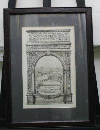 London County Council WWI In Memory Of Certificate, missing Presumed Dead 1914