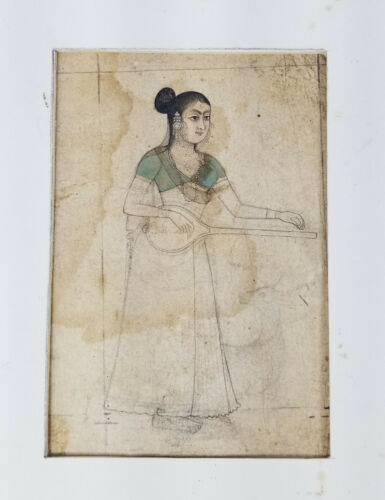 Extremely Fine Antique Persian Mughal Miniature Painting Beauty Musician