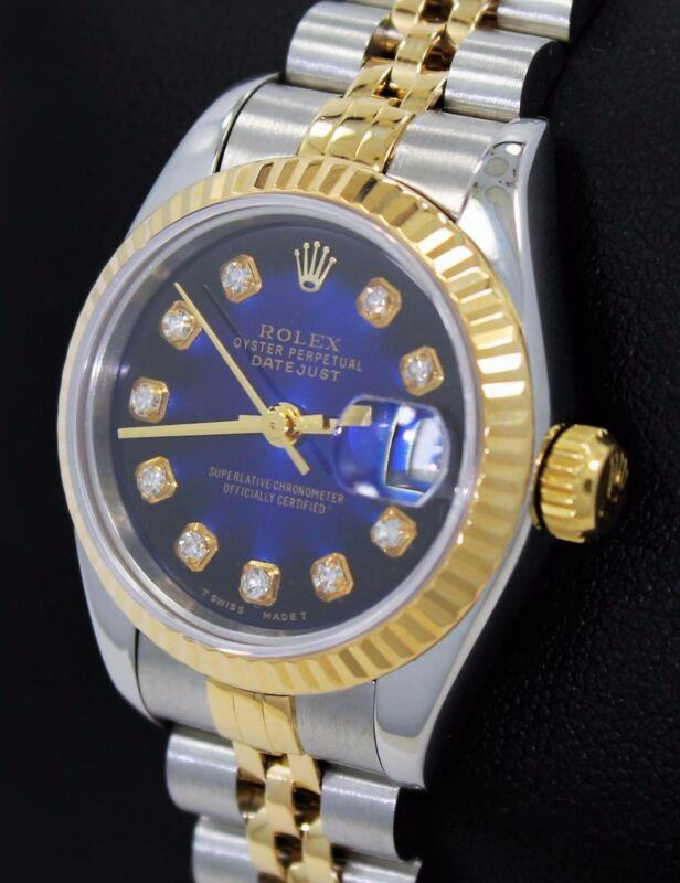 Rolex Datejust 69173 Jubilee 18K Yellow Gold &SS Blue Viniet Diamond Dial Ladies
