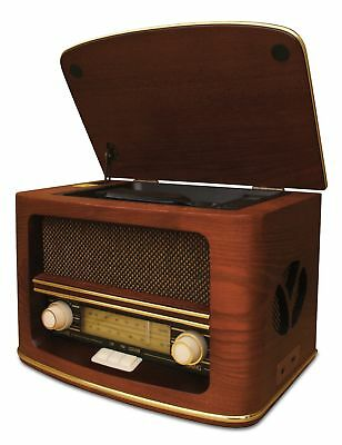 Nostalgie Retro Holz Radio mit CD USB Player Kompaktanlage Vintage Musikanlage