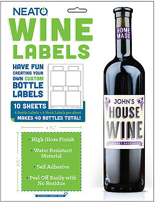 Neato Wine Bottle Labels - High Gloss - 40 Labels - Online Software Included