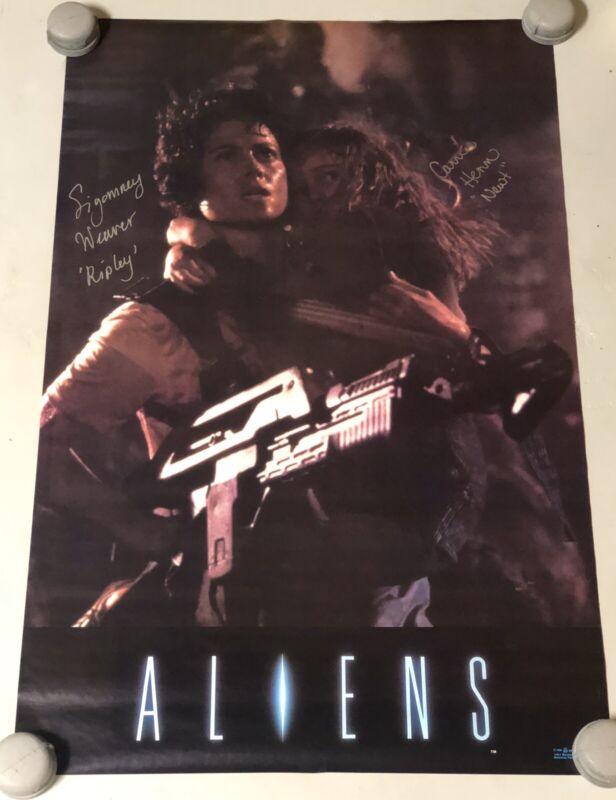 Aliens Sigourney Weaver Carrie Henn Signed Original Full Size Poster Rare PROOF!