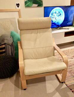 IKEA leather pello / poang chair excellent cond