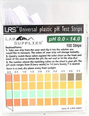 Plastic Ph Test Strips Universal Application Ph 0.0-14.0 0.5 Interval 100 Pc
