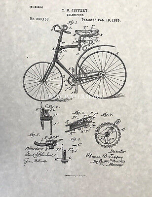 Official Velocipede Bicycle 1889 US Patent Art Print Home Decor Poster Vintage