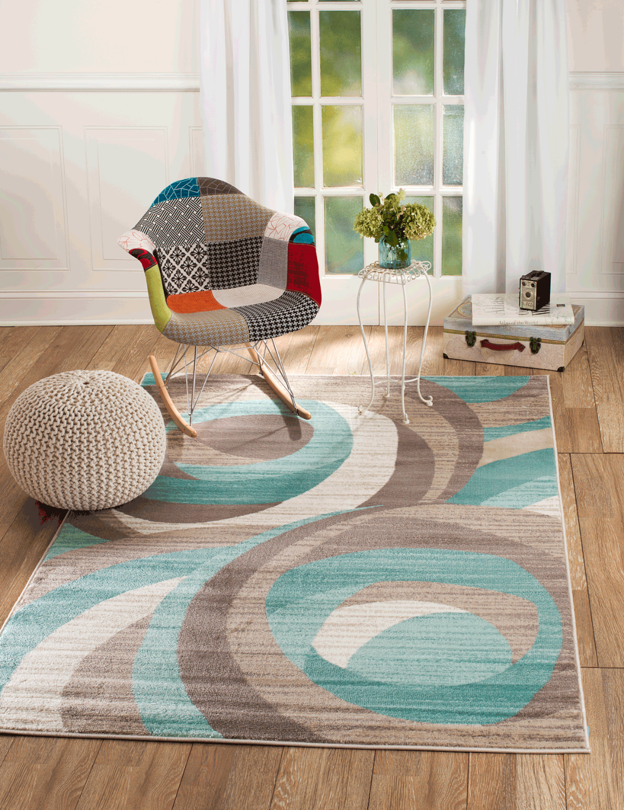 Area Rug ST60 Multi-color Contemporary Modern Abstract. Size
