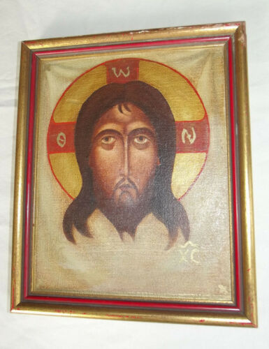 Hand Painted ICON Mandylion Russian Canvas Board Framed & Sealed Unusual V Fine