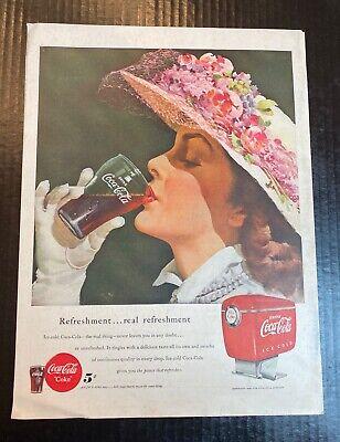 1949 COCA-COLA Antique w/ Coke Fountain Dispenser AD Floral Hat