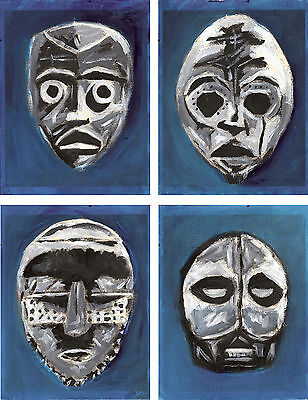Lot of 4 Paintings On Cardstock African Masks Abstract Portrait Pop Art Outsider
