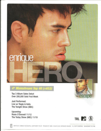 ENRIQUE IGLESIAS Rare 2001hero PROMO TRADE AD Poster for Escape CD MINT USA
