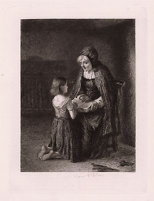 """Inspirational 1800s George Paul CHALMERS Antique Etching """"Prayer"""" SIGNED COA"""