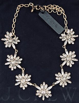 JCrew Store Crystal Circle Update Snowflake Necklace Jewelry Bag & Box Ret. $128