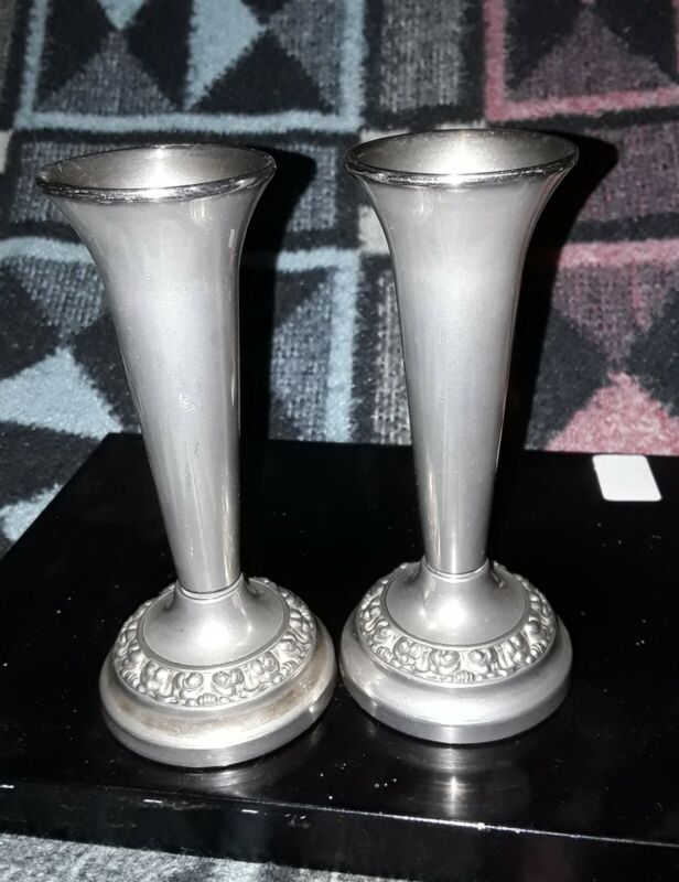 A pair of Vintage Silver Plated Rose / Posy stem style Vase By Lanthe Of England