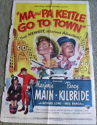 MA AND PA KETTLE GO TO TOWN MARJORIE MAIN & PERCY KILBRIDE ORIGINAL1950 1 SHEET