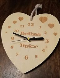 Personalised Heart Shaped Wall Clock - Laser Engraved Face - Quartz Movement