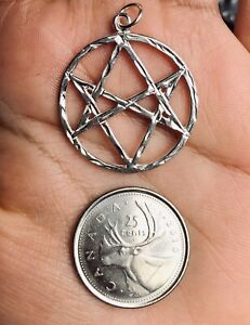 New real sterling silver 925 Celtic unicursal hexagram charm