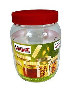 Sunpet Set of 3 500ml Red Top Plastic Food Storage Canisters Jar pots Kitchen