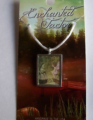 Fairy & Frog Pendant Necklace Lead-Free Pewter Handcrafted USA Fairy Tale Look