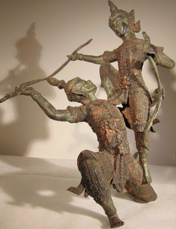 ANTIQUE SIAM, THAI, CAMBODIAN  WARRIORS IN BATTLE GUILTED PATINATED BRONZE