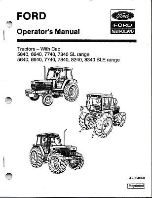 Ford-nh 5640 6640 7740 7840 8240 8340 Tractor Operators Manuals-with Cab Set