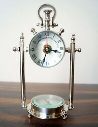 Desktop Chrome Finish Watch w/ Compass Marine Nautical Desk Clock Table Decor