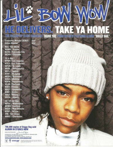LIL BOW WOW Rare Take Ya 2002 PROMO TRADE AD Poster for Doggy Bag CD MINT USA
