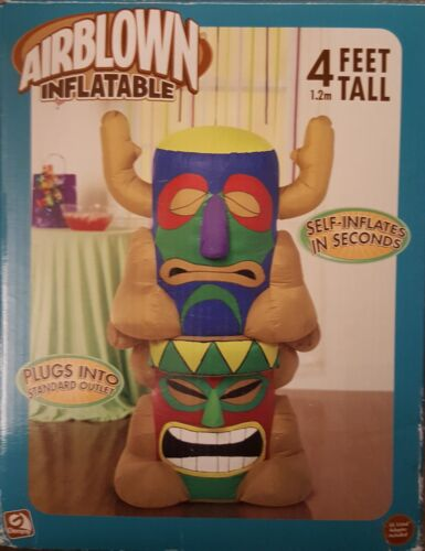 GEMMY AIRBLOWN INFLATABLE TOTEM POLE TIKI STATUE BUFFETT TAILGATE PARTY  4FT NEW