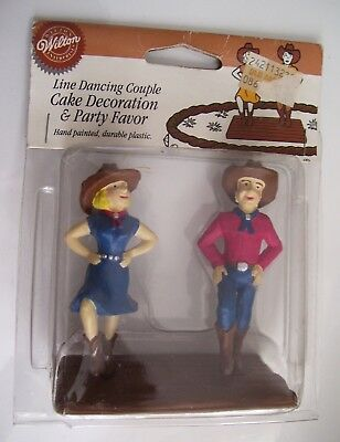Rare Wilton Cake Topper Country Western Theme Line Dancing Couple Cowboys 1995