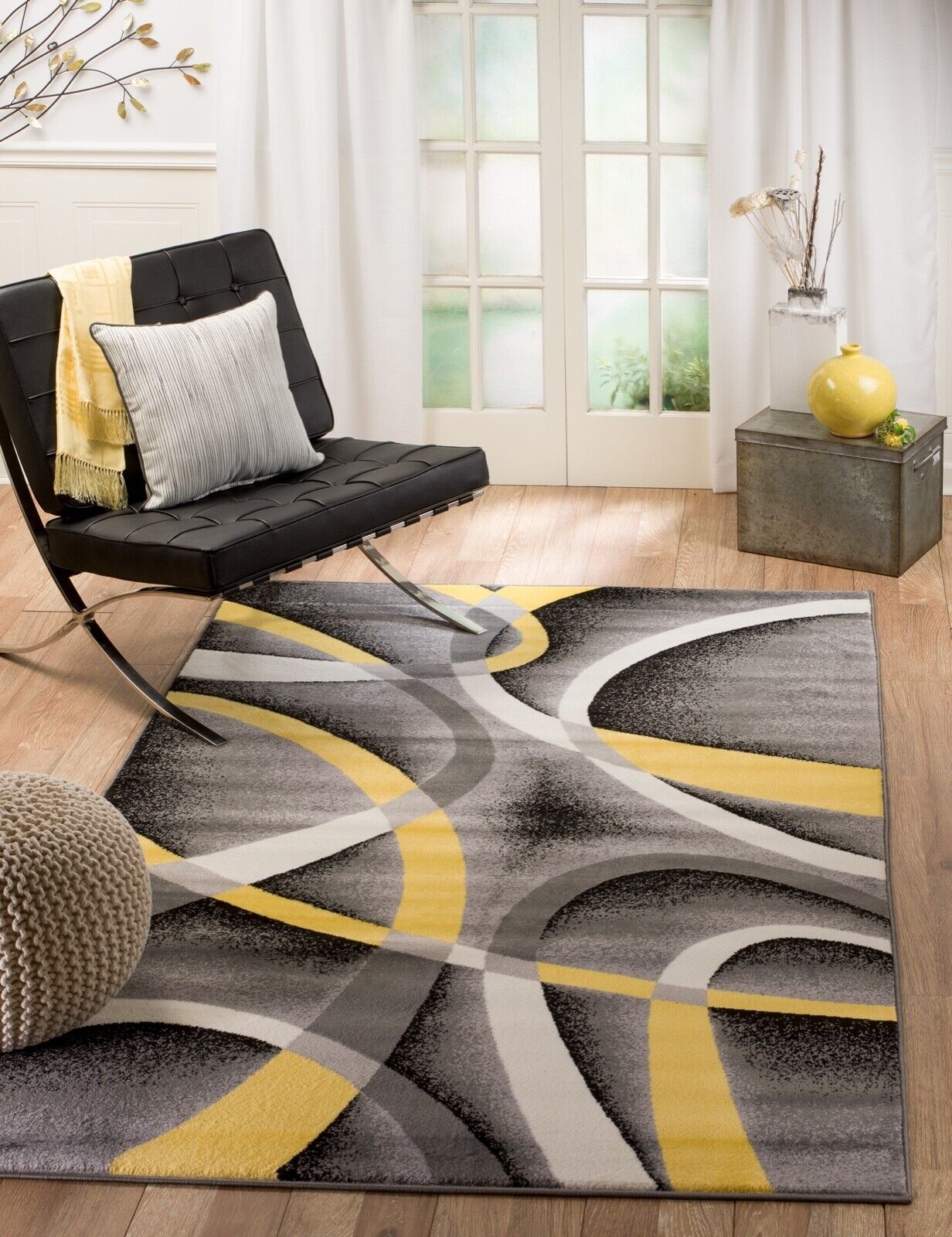Area rug Smt#21 Modern yellow gray  soft pile size options 2