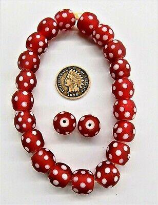 20  Cornaline d' Aleppo African Red Eye Trade Beads  Hudson Bay READ # 803
