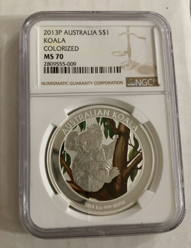 2013 Australia 1oz Silver Koala Colorized NGC MS70
