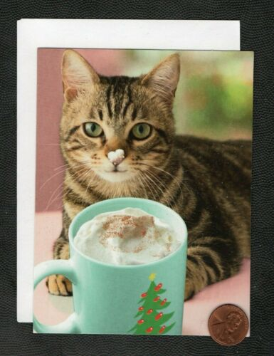 CHRISTMAS Cat Chocolate Cocoa Mug Nose GLITTERED SMALL Greeting Card W/ TRACKING