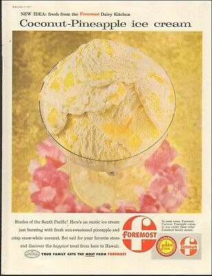 1957 Vintage ad for foremost Coconut-Pineapple ice cream `retro emblem    031119](Pineapple Coconut Ice Cream)