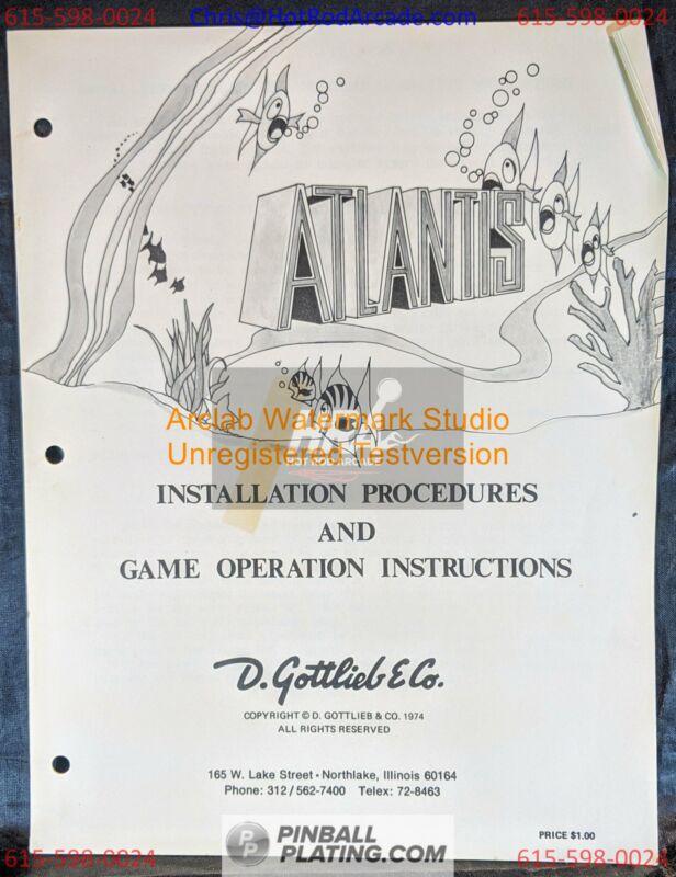 Atlantis - Gottlieb - Pinball Manual - - Used