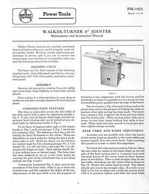 Walker Turner 8 Jointer Operator Maintenance Instruction Parts Manual 1-31-58